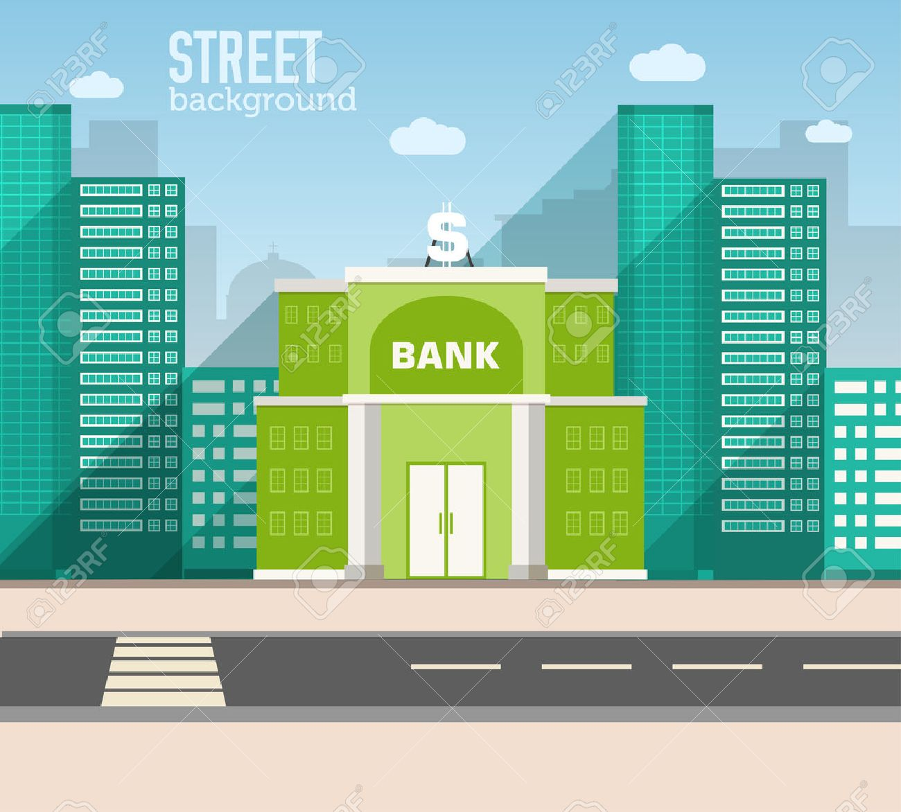 bank building in city space with road on flat style background c - 34296973