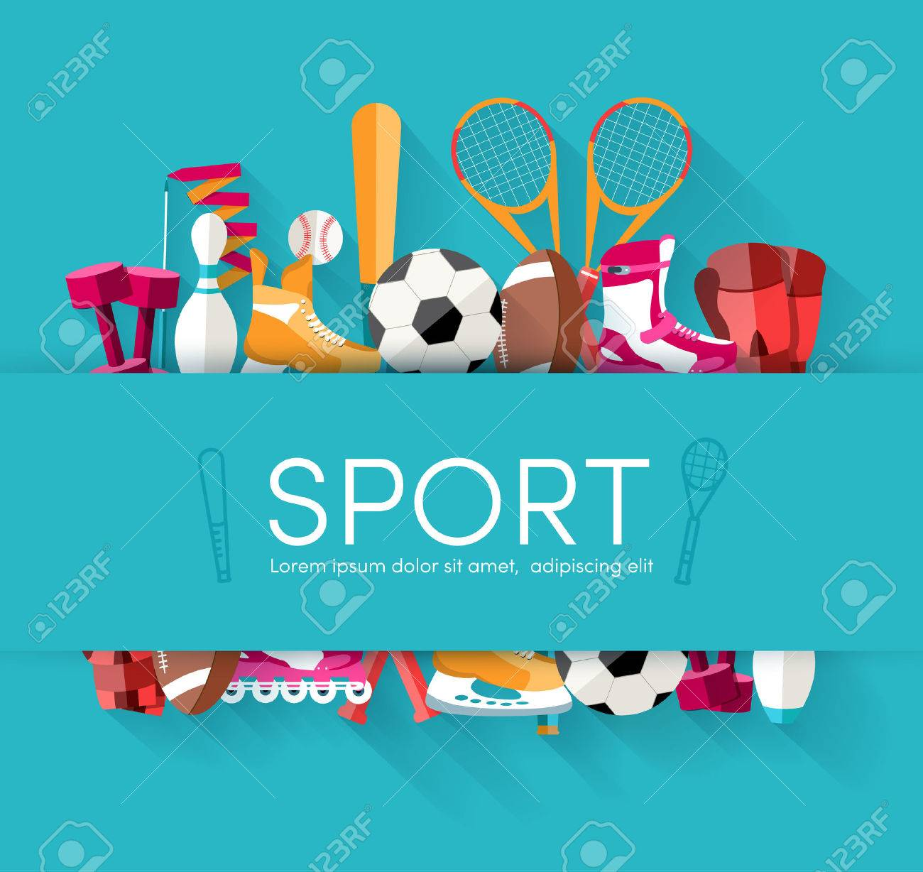 Circular concept of sports equipment sticker background. vector - 34297481