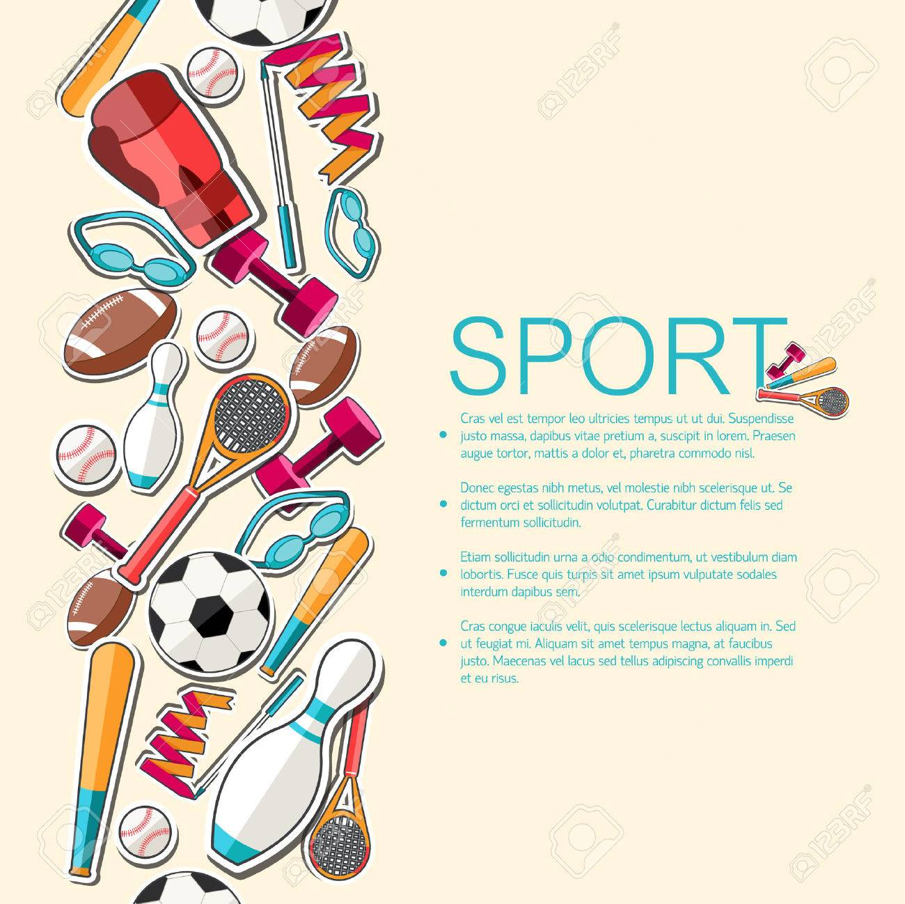 Circular concept of sports equipment sticker background. vector - 34298652