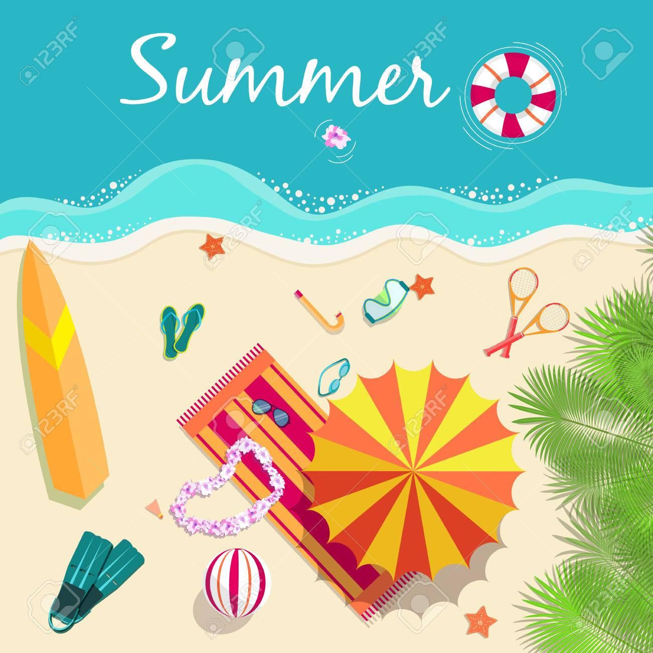 summer vecetion time background vector illustration concept - 34299264