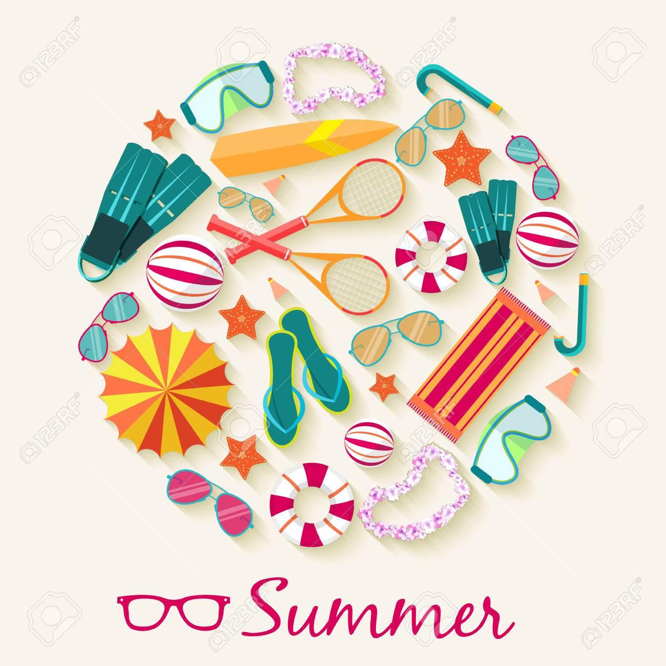 summer vecetion time background vector illustration concept - 34299268