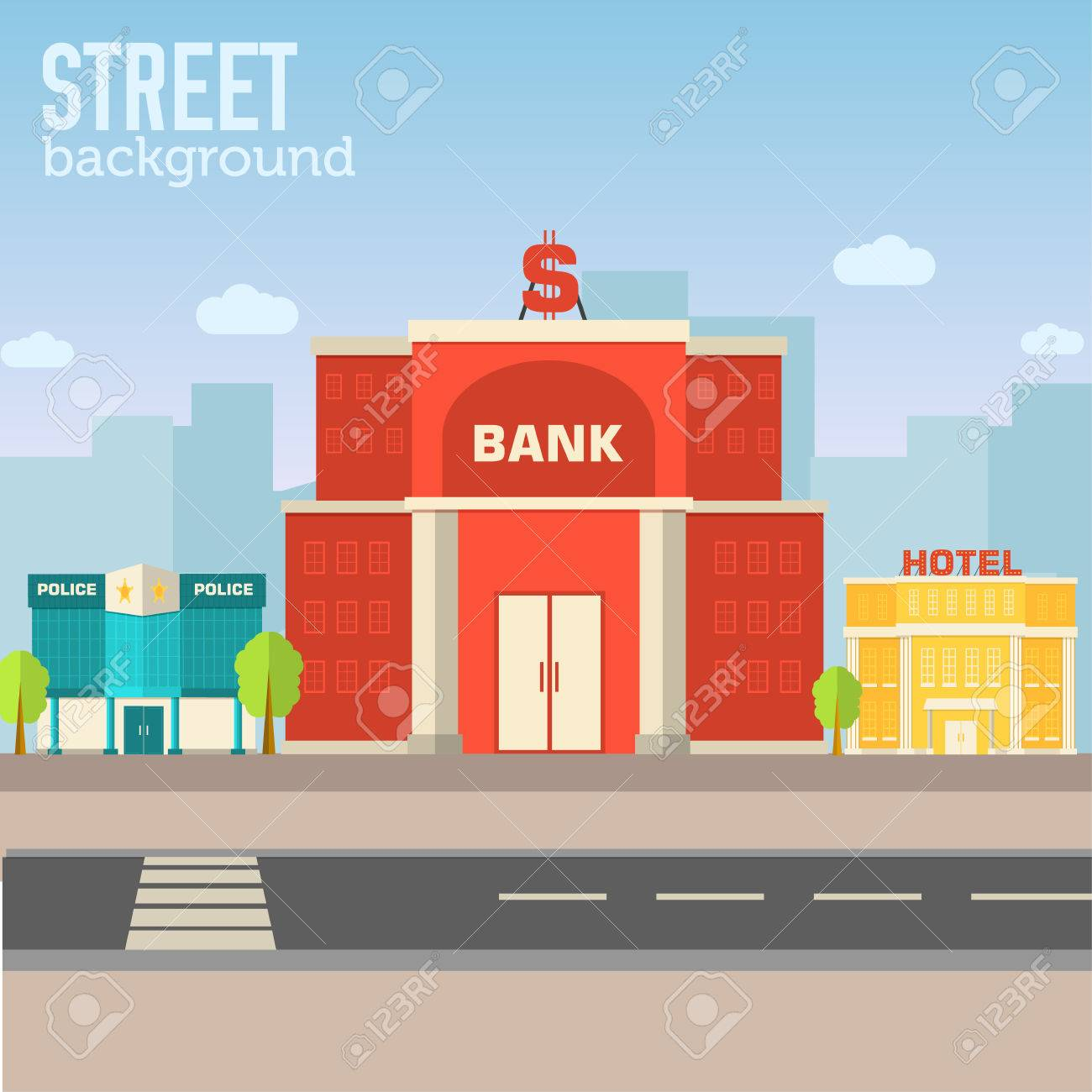 bank building in city space with road on flat syle background - 38991377