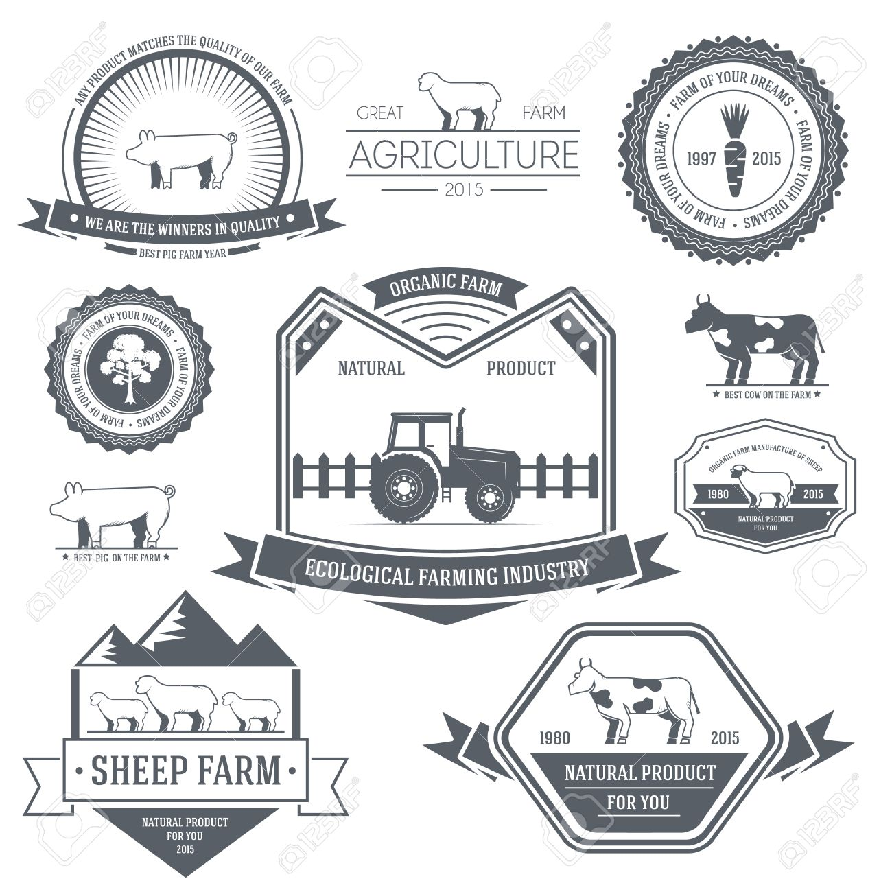 farm label template of emblem element for your product or design, web and mobile applications with text. Vector illustration with thin lines isolated icons on stamp symbol. - 39172689