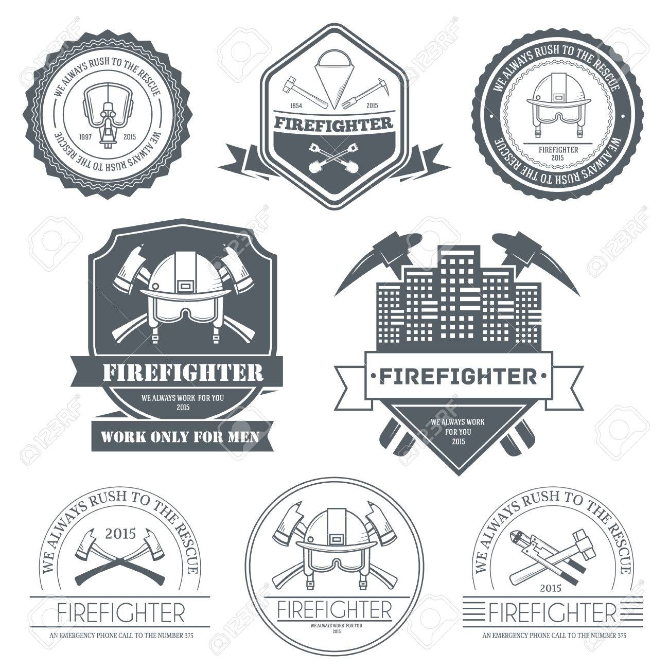firefighter label template of emblem element for your product or design, web and mobile applications with text. Vector illustration with thin lines isolated icons on stamp symbol - 39172835