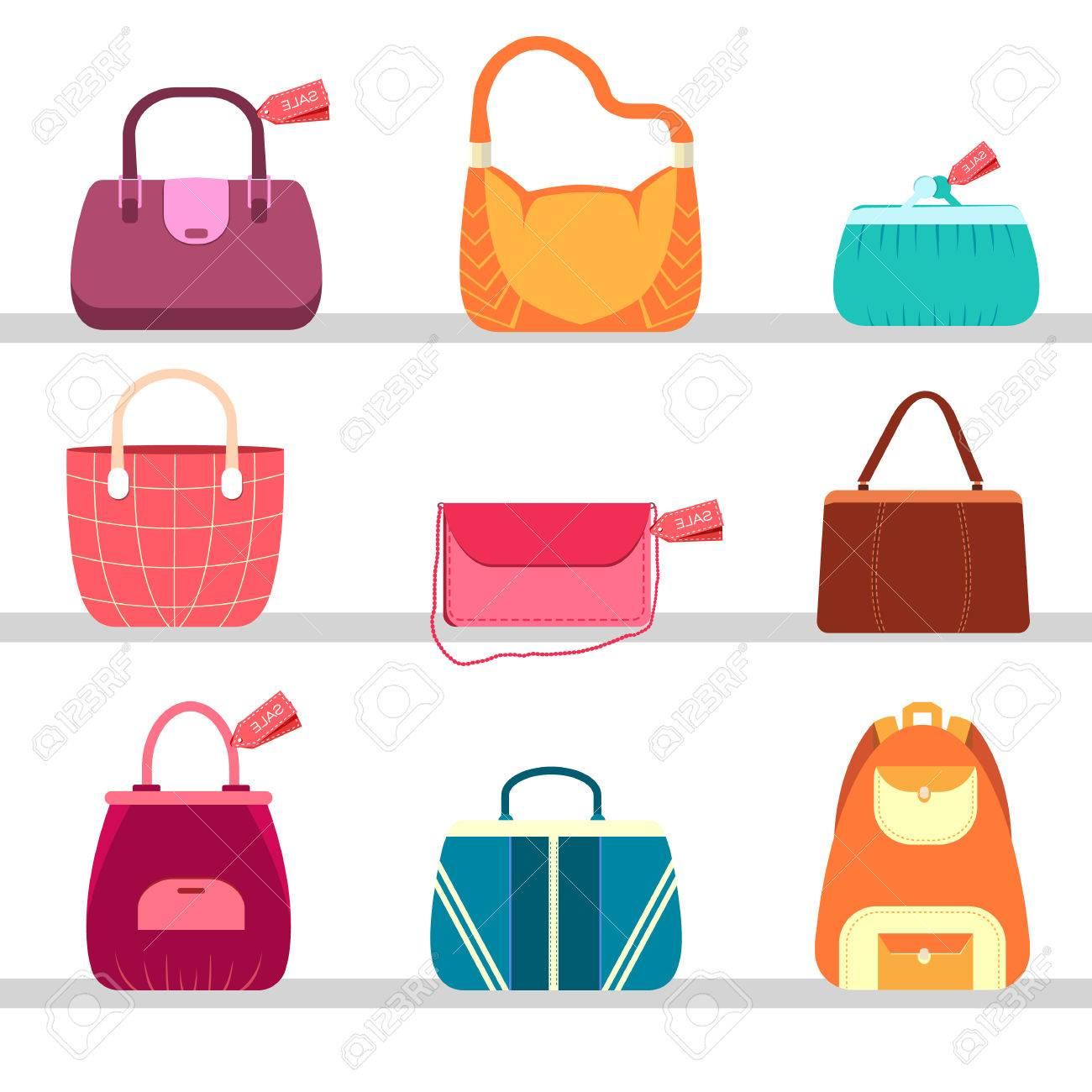 Bolsos De Moda Elegancia Y Bolsas En Los Iconos De Patrón Sin ...