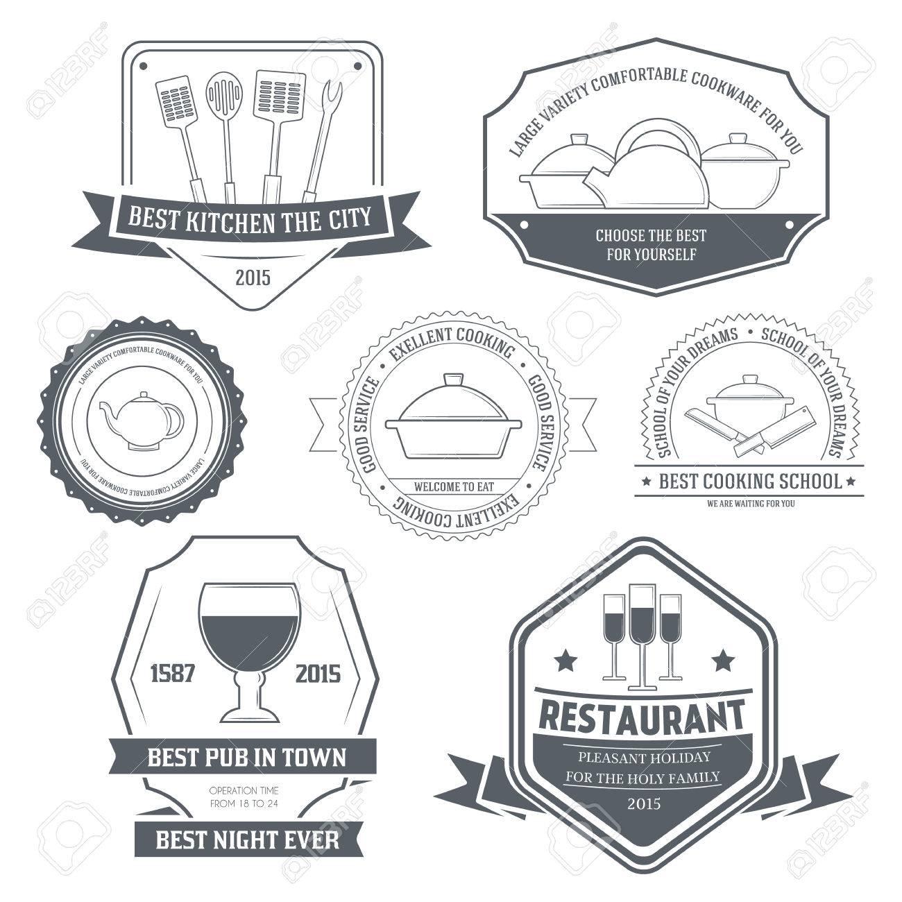 Ausstattung Der Küche Gesetzt Etikettenvorlage Aus Dem Emblem ...
