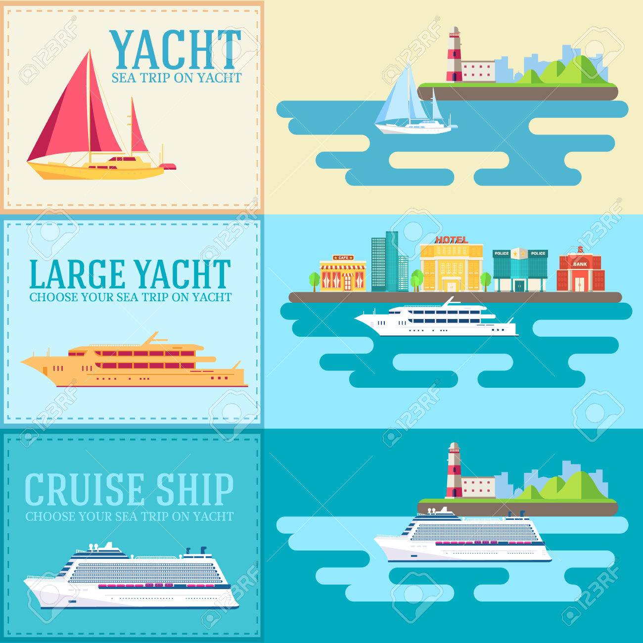 Set of flat yacht, scooter, boat, cargo ship, steamship, ferry, fishing boat, tug, bulk carrier, vessel, pleasure boat, cruise ship with blue sea banners concept. Vector design illustration - 39179705