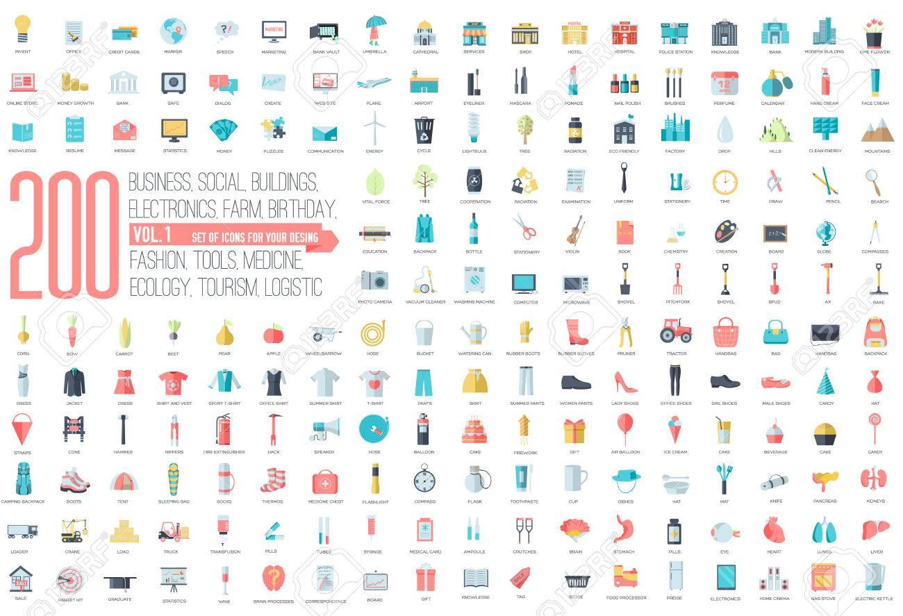 Iconos Conjunto De Recopilación Plana De Negocio, Social, Ecológico ...