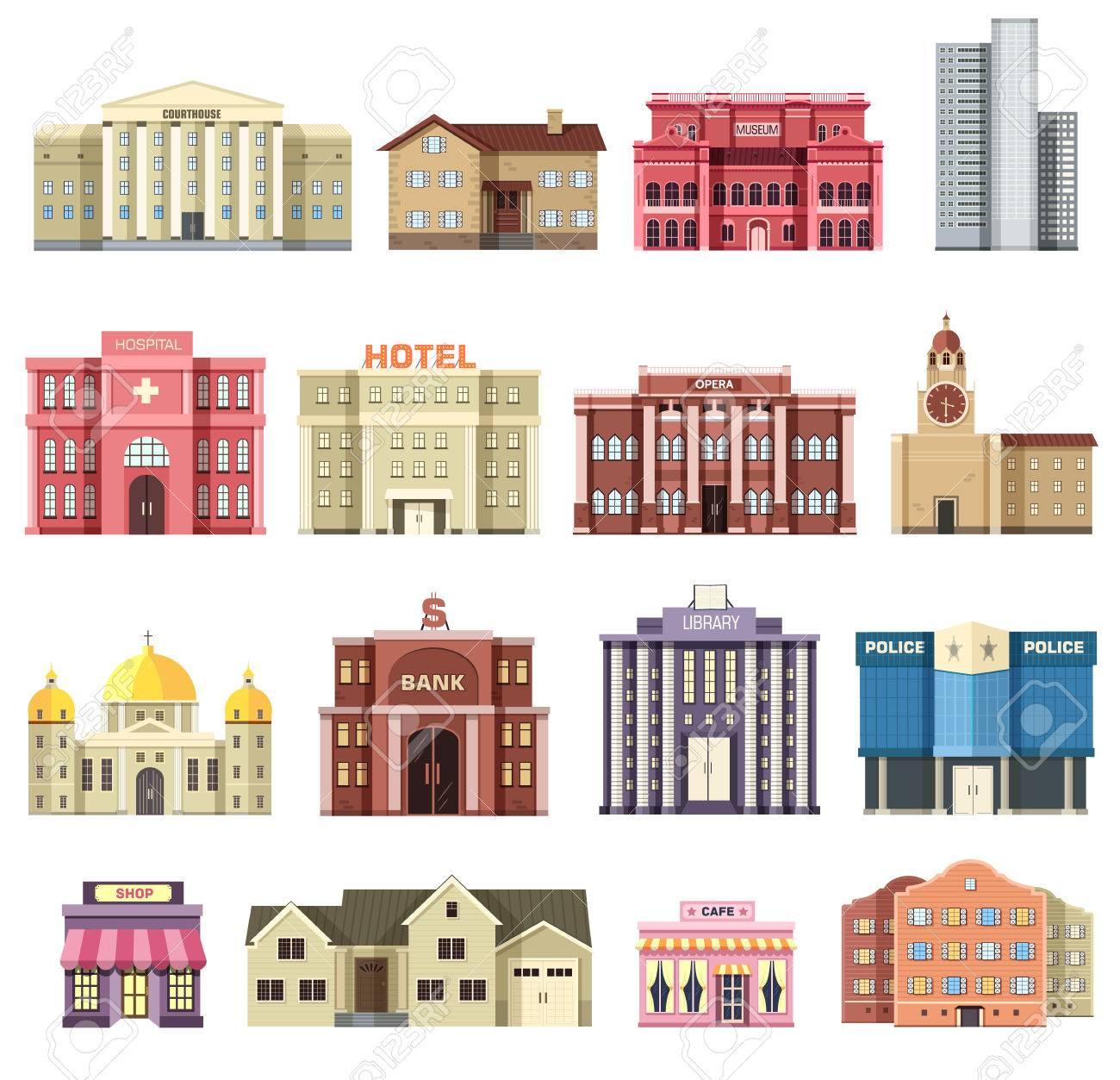 Agreable Appartement Coloré Bâtiments Vecteur De La Ville Mis. Icône Fond Concept  Design. Architecture Construction