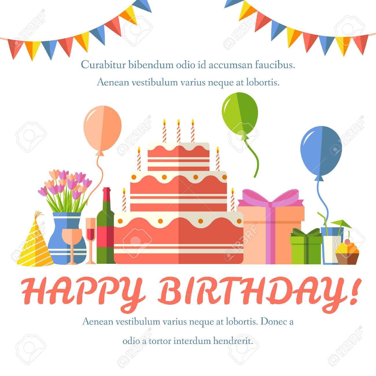 Flat happy Birthday festive background with confetti icons set. Party and celebration design elements: balloons, confetti, cake, drinks, gifts concept - 51591661