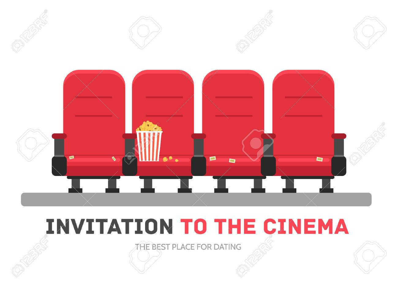 An invitation to the movie in flat design background concept an invitation to the movie in flat design background concept armchairs cinema with popcorn stopboris Image collections