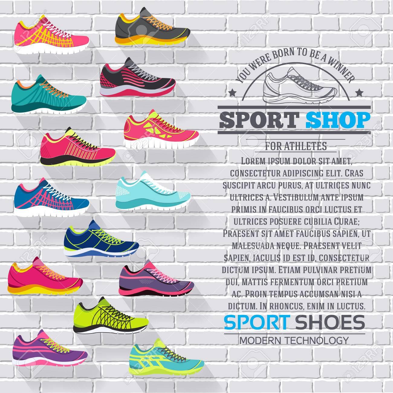 49a590bd4 Gran colección plana ilustración Conjunto de zapatillas de correr, caminar,  ir de compras, los fondos del estilo. Vector los elementos conceptuales ...