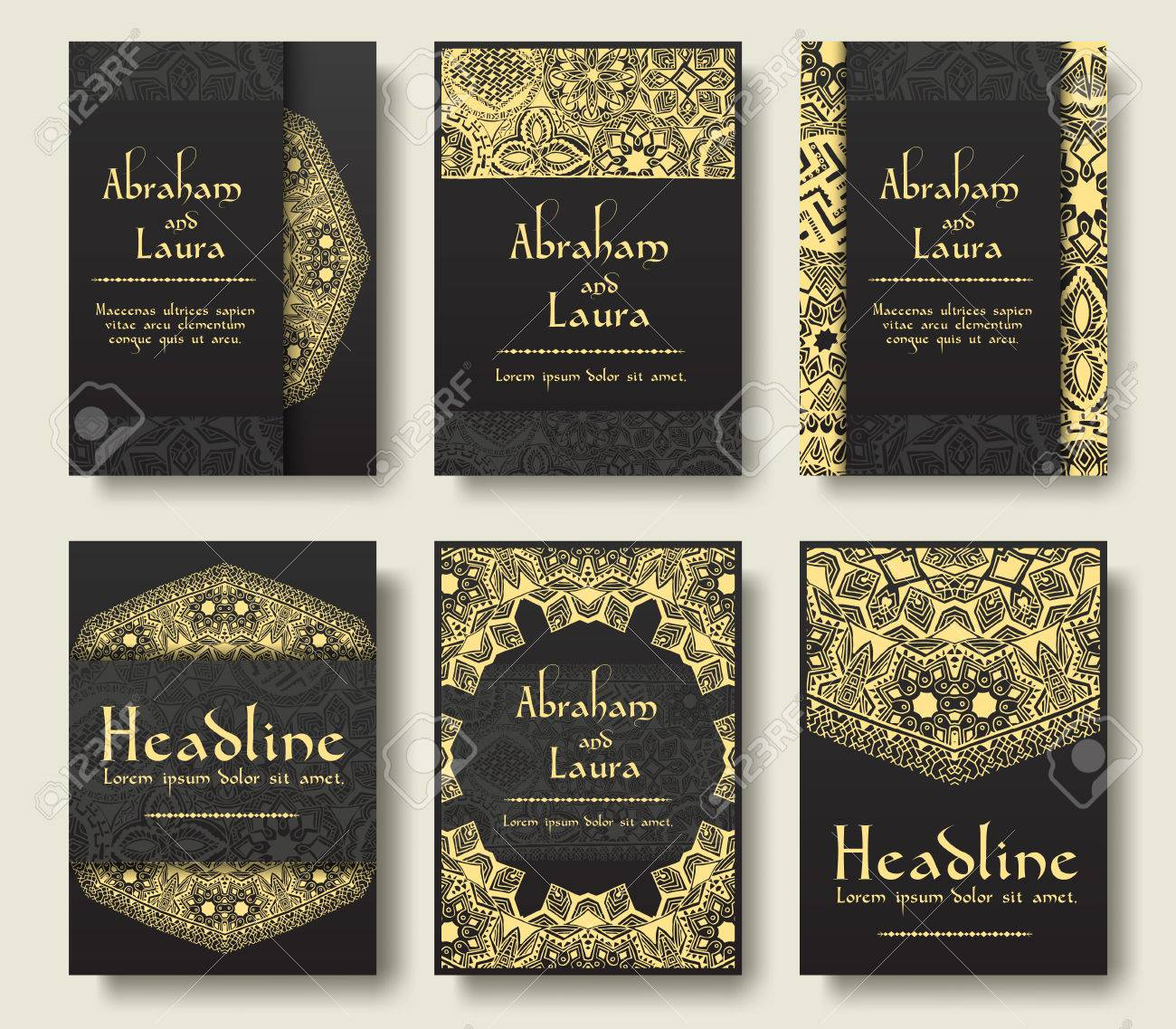 Set of flyer pages ornamental illustration stylized gold concept. Luxury art traditional, Islam, arabic, indian, ottoman motifs, elements. Vector decorative retro greeting card or invitation design. - 51591804
