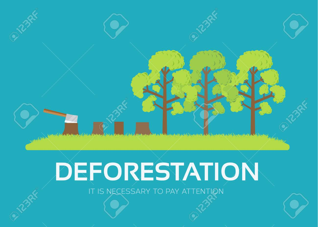 issue deforestation in flat design background concept. Ecological natural problem. Icons for your product or illustration, web and mobile applications - 51591806