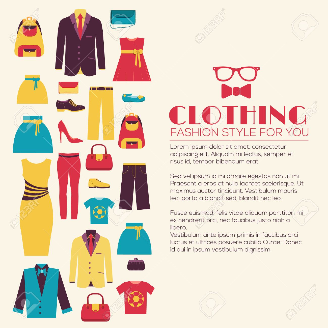 Fashion clothing infographics template concept. Icons design for your product or design, web and mobile applications. Vector flat with long shadow illustration on blue background - 51591849