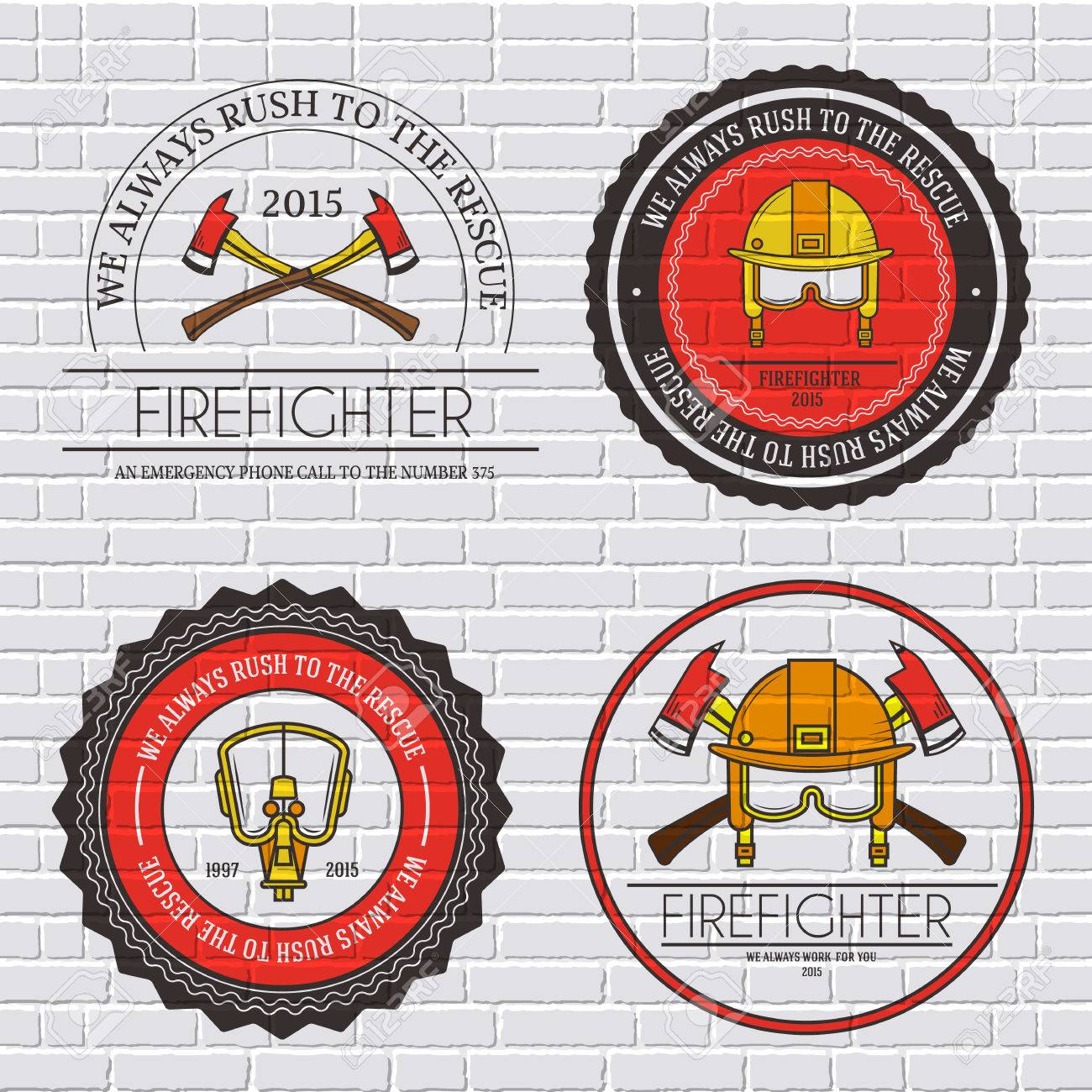 Firefighter Label Template Of Emblem Element For Your Product Or Design Web And Mobile Applications