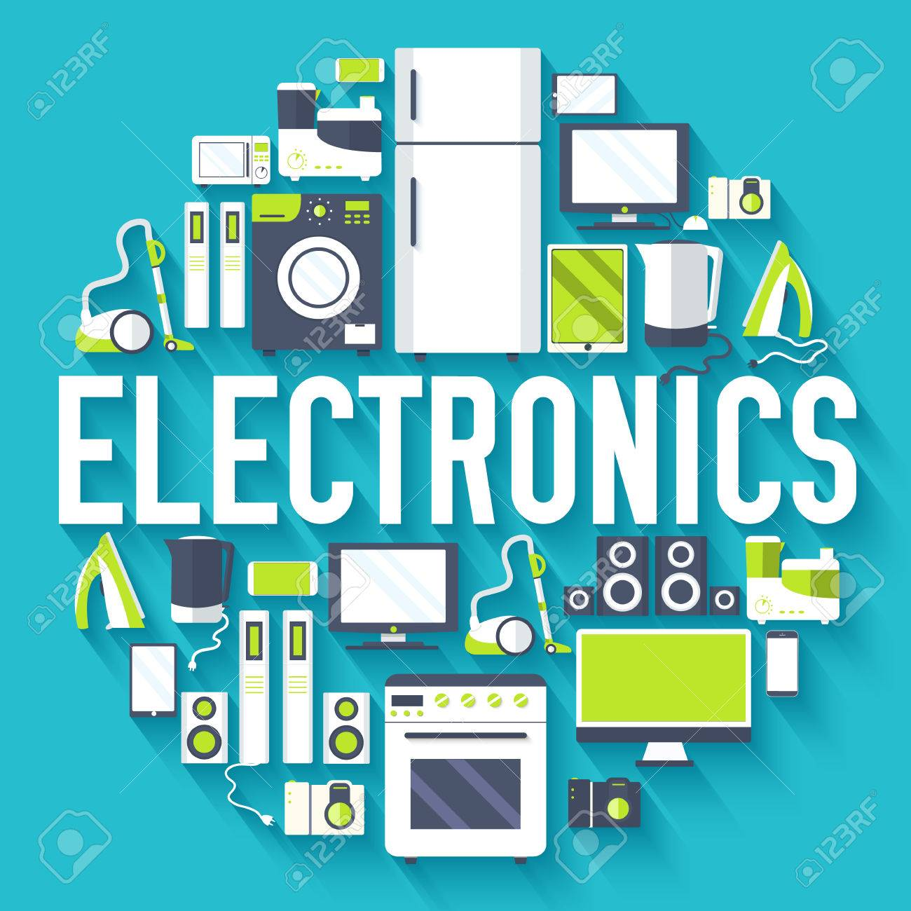 Home electronics appliances circle infographics template concept. Icons design for your product or design, web and mobile applications. Vector flat with long shadow illustration on blue background - 51591911
