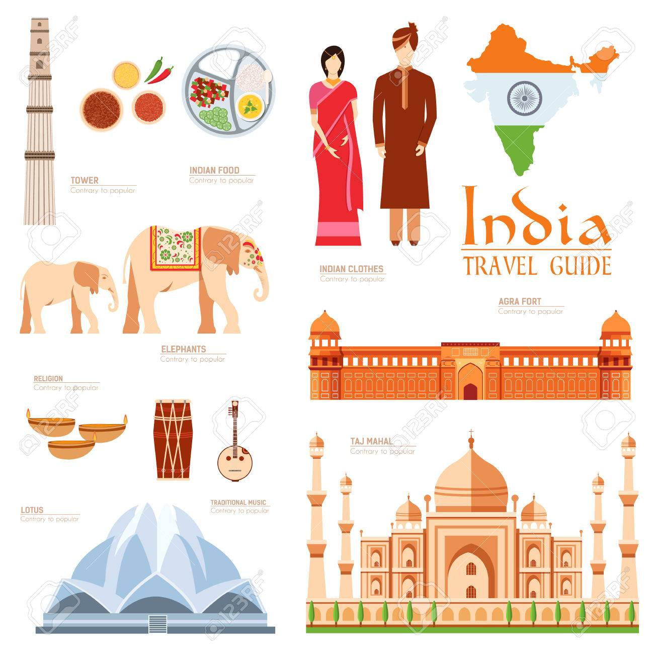 Country India travel vacation guide of goods, places and features. Set of architecture, fashion, people, items, nature background concept. Infographics template design for web and mobile on flat style - 51592016