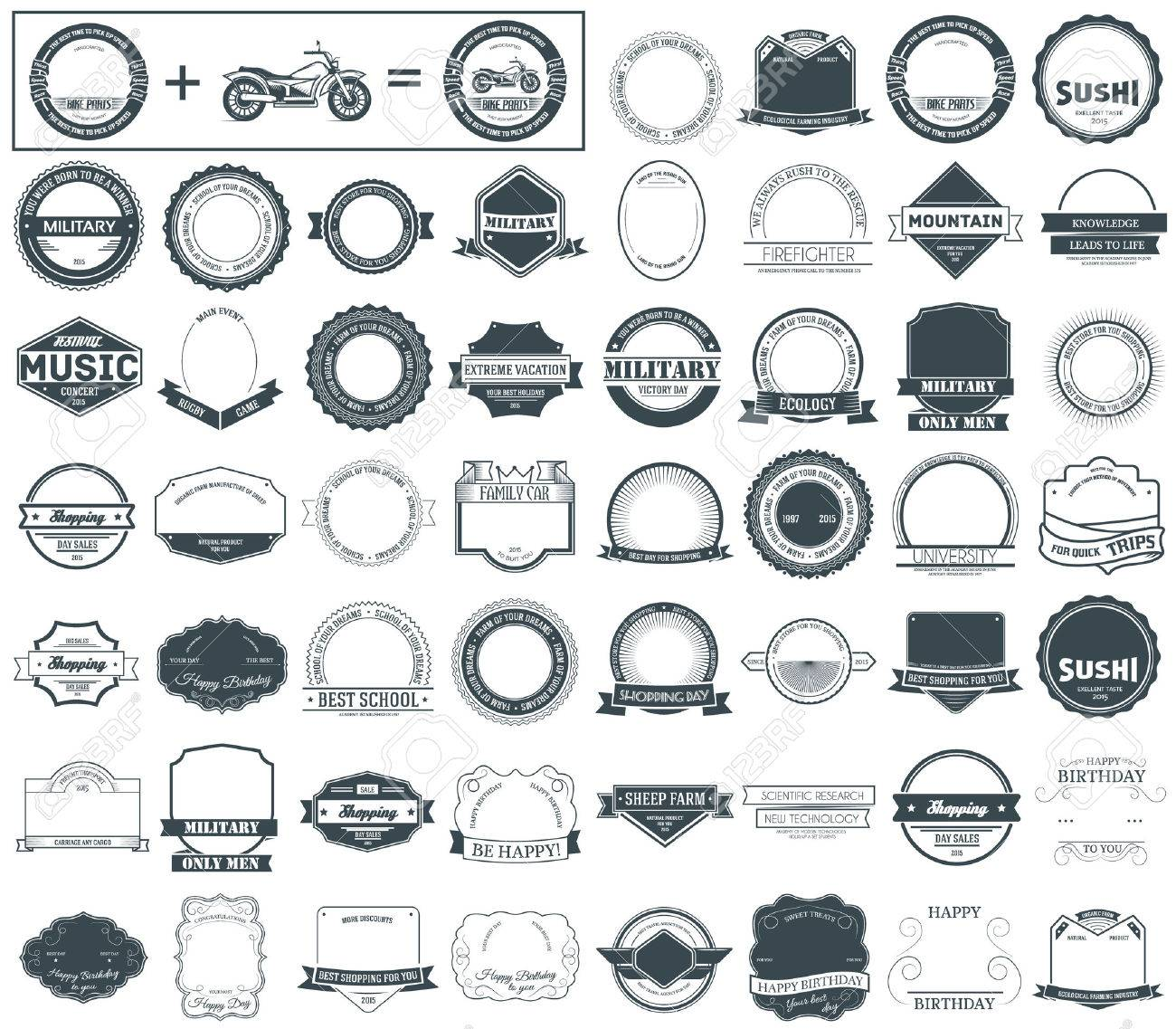 Make your labels or Logotypes concept set. Retro typography, badges, logos, borders, ribbons, emblem, stamp, and Objects. Vector design templates - 51592058
