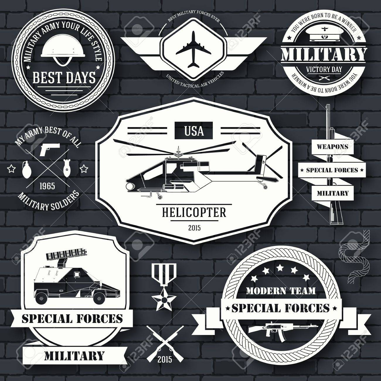 military set label template of emblem element for your product or design, logo, element, web and mobile applications with text. Vector illustration with thin lines isolated icons on stamp symbol - 51592321
