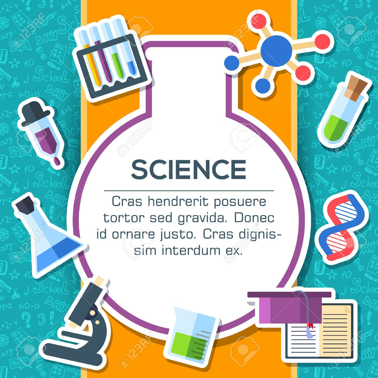 Back to school elements on blue background poster in sticker style design. Vector illustration template card illustration concept - 51592423