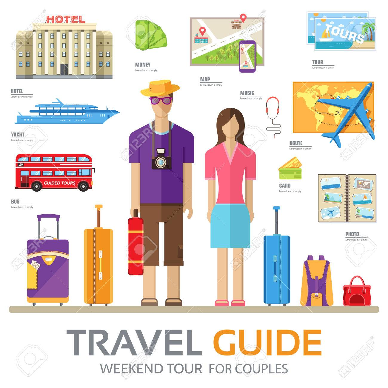 Travel Guide Infographic With Vacation Tour Locations And Items