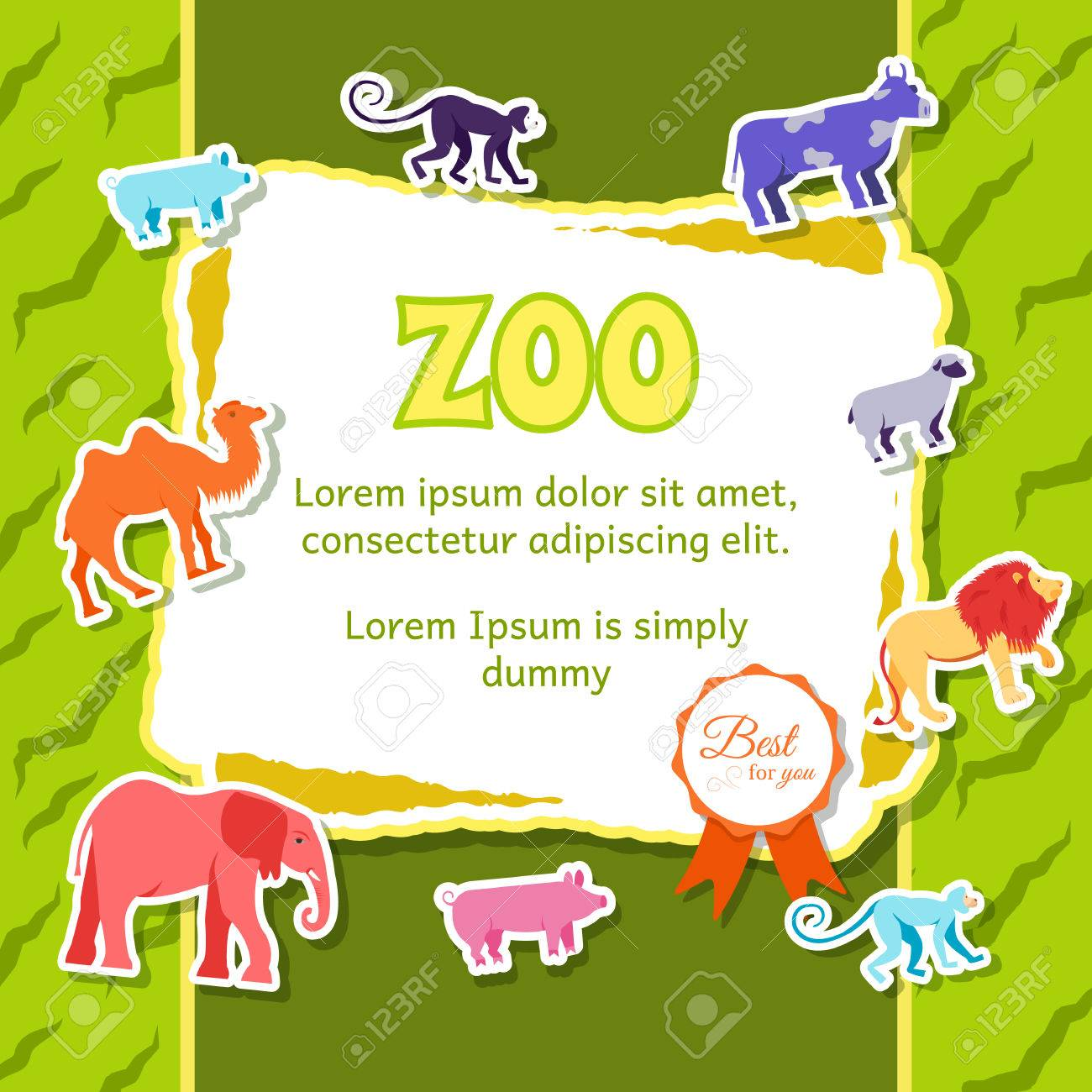 zoo animals elements on green background poster in sticker style