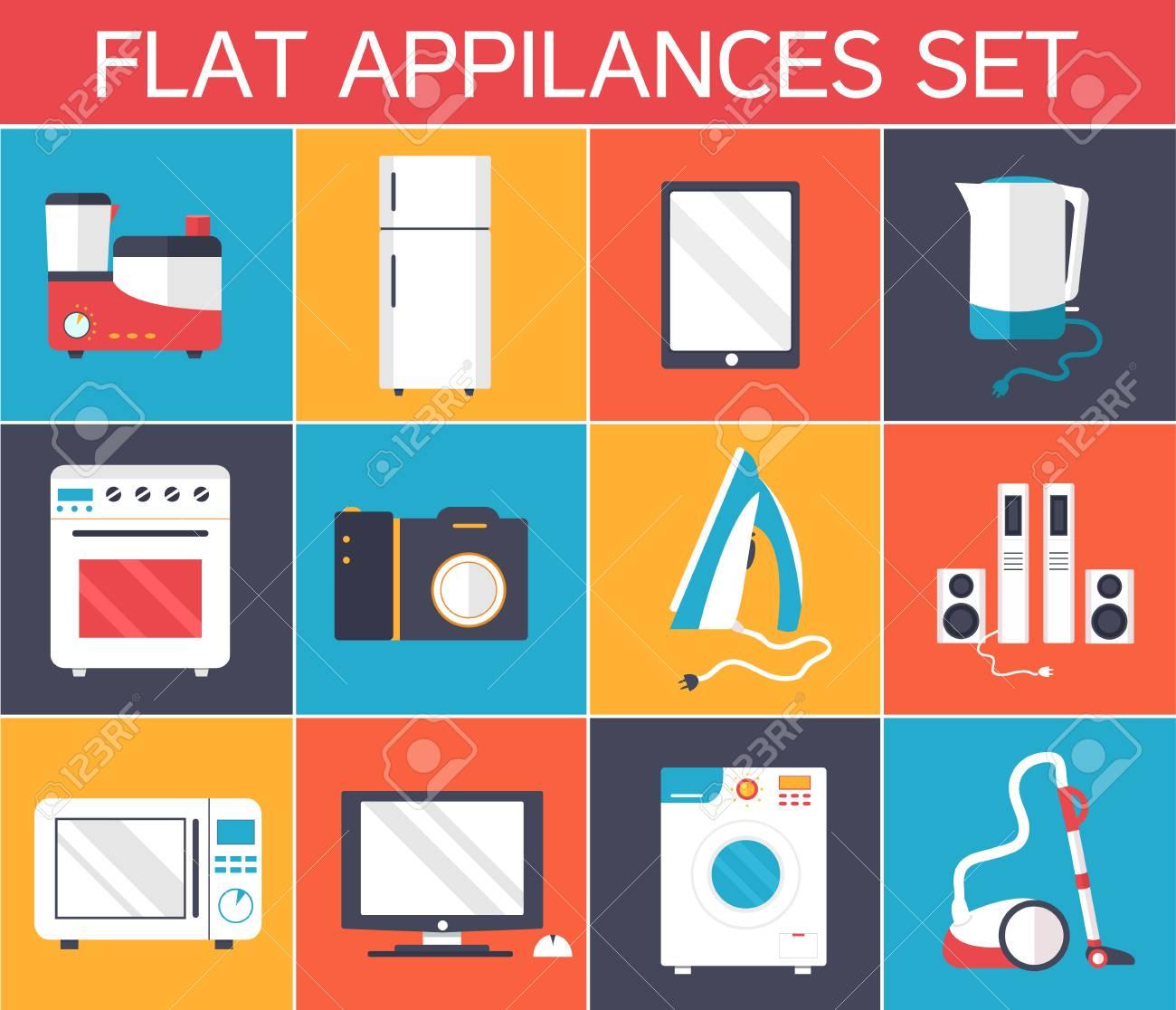 Wohnung Moderne Küchengeräte-Icons Konzept. Vektor-Illustration ...