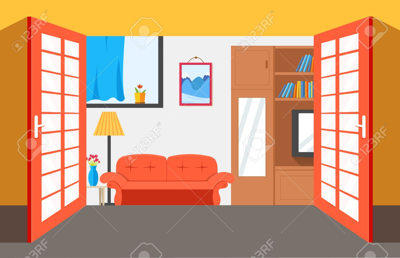 All rooms in the house rooms of homes vector art image illustration - House Room Vector Illustration Background Flat Home Interior Furniture Picture Concept Stock Vector