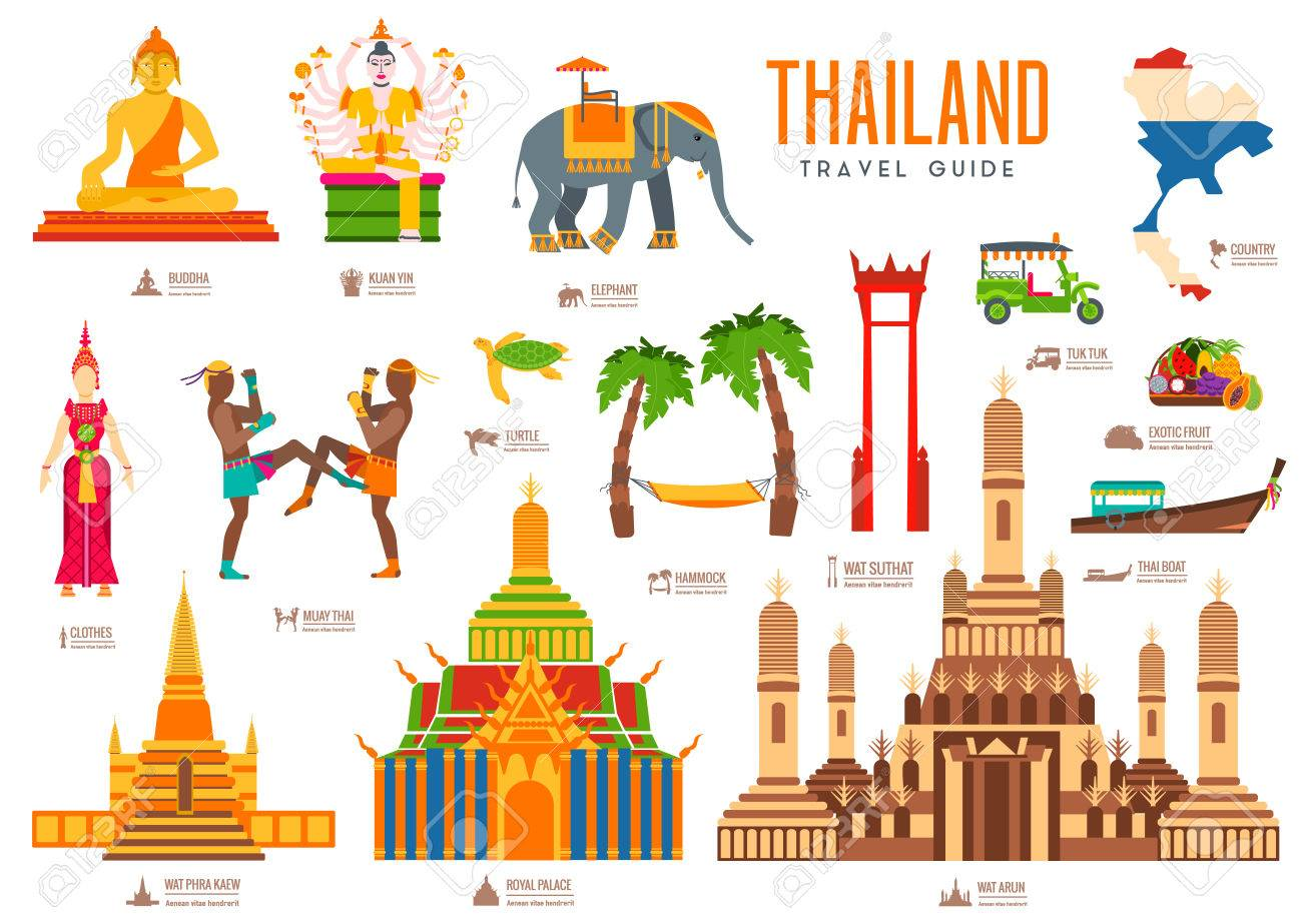 Country thailand travel vacation guide of goods, places and features. Set of architecture, fashion, people, items, nature background concept. Infographic traditional ethnic flat icon template design - 56556828