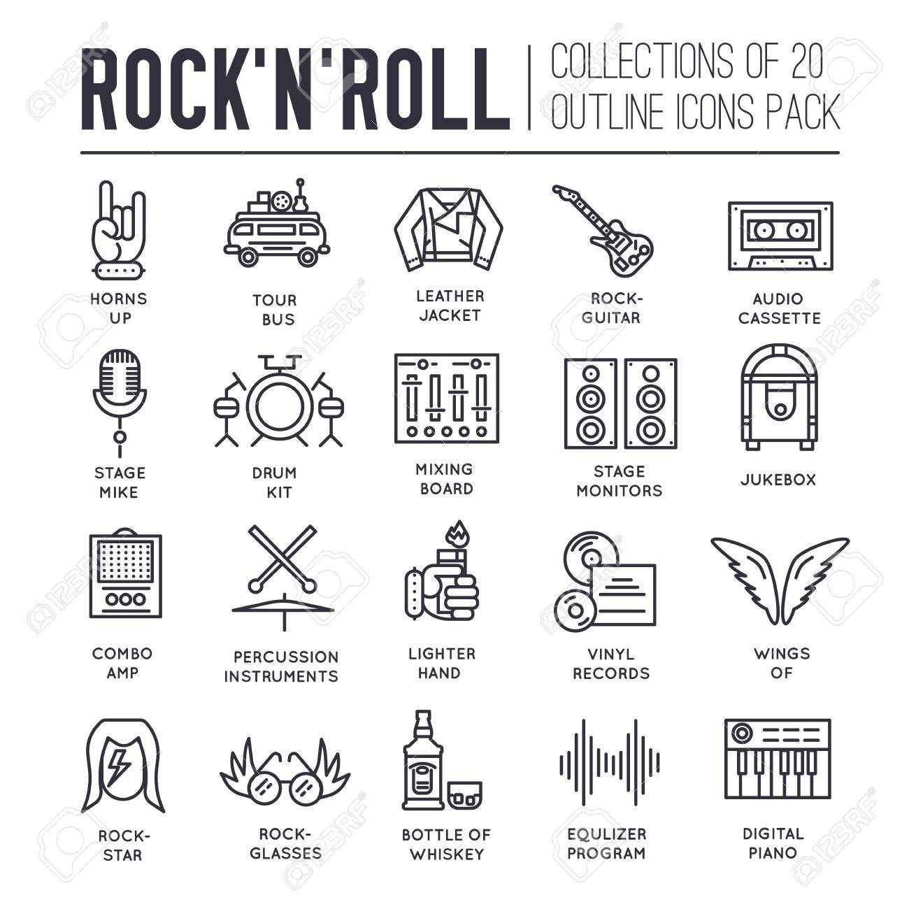 Rock n roll circle outline icons collection set music equipment rock n roll circle outline icons collection set music equipment linear symbol pack modern biocorpaavc Image collections