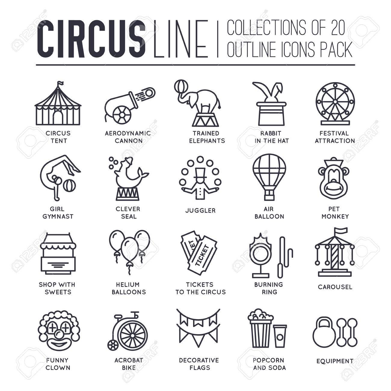 Premium quality circus outline icons collection set. Festival linear symbol pack. Modern show template  sc 1 st  123RF & Premium Quality Circus Outline Icons Collection Set. Festival ...