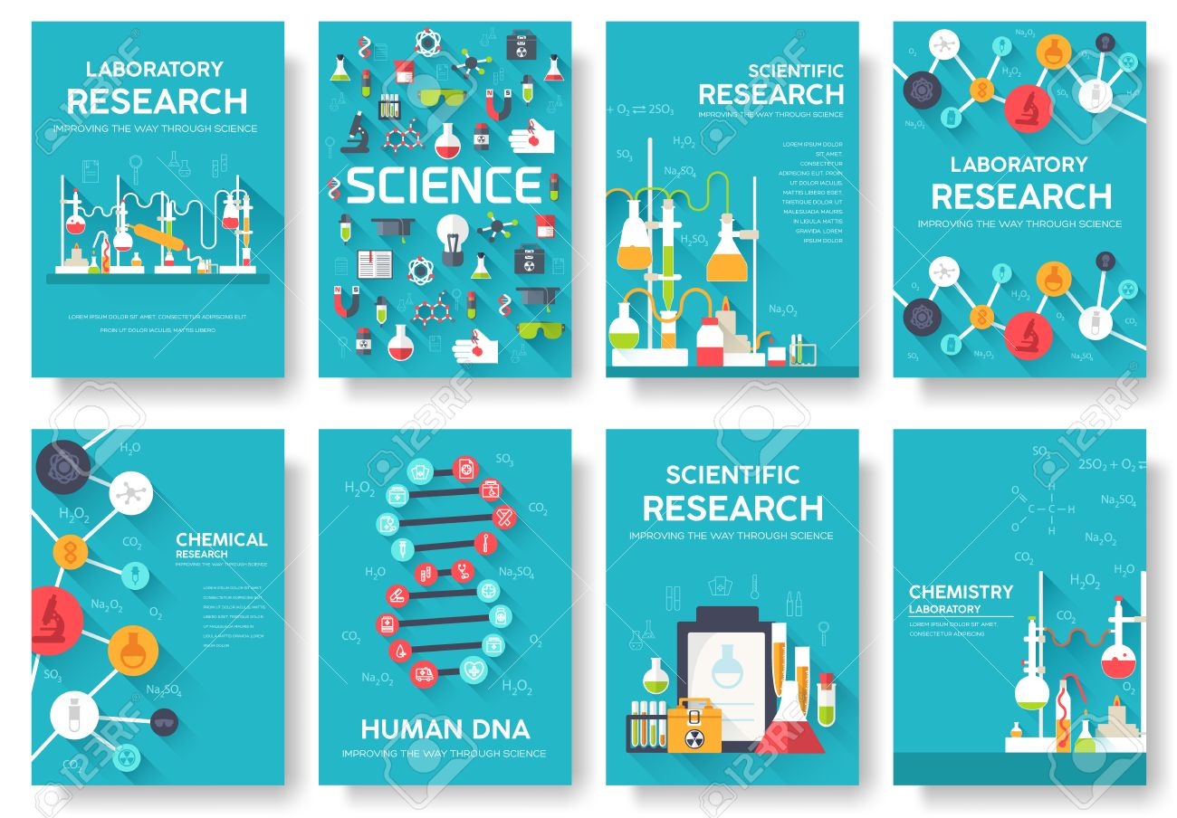 science information cards set laboratory template of flyear
