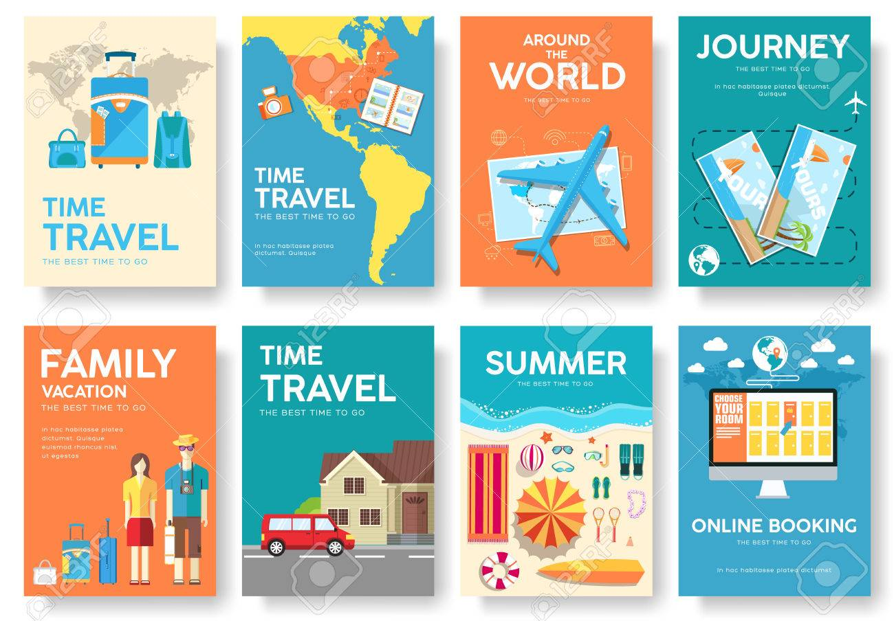 tour of the world vector brochure set travel icons travel