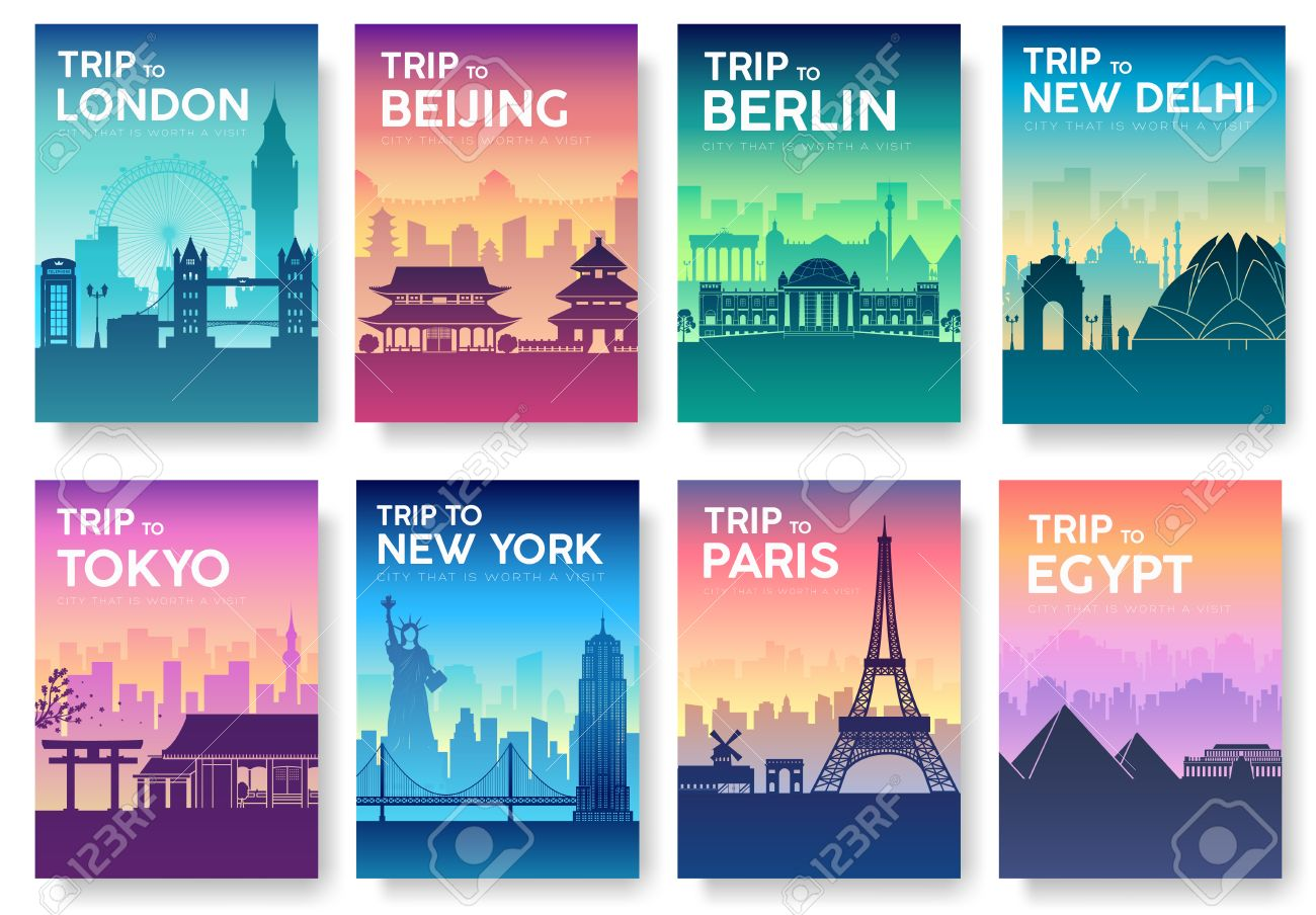 Travel of the world brochure with typography set. England country icon. England country. India country. Germany country. China country. Japan country. Usa country. France country. City landscape - 56556885