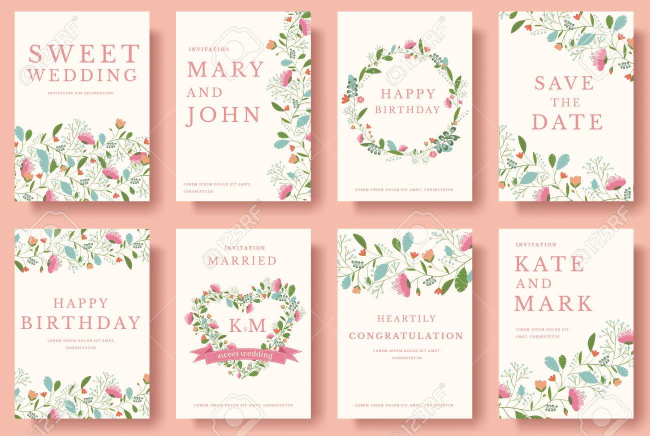 Set of flower invitation cards. colorful greeting wedding invitation card illustration set. Wedding vector design concept collection - 56556752