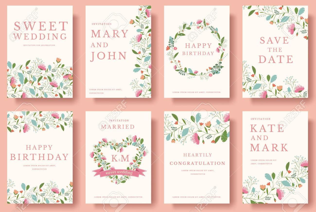 Set Blumeneinladungskarten Bunte Einladungskarte Gruss Hochzeit