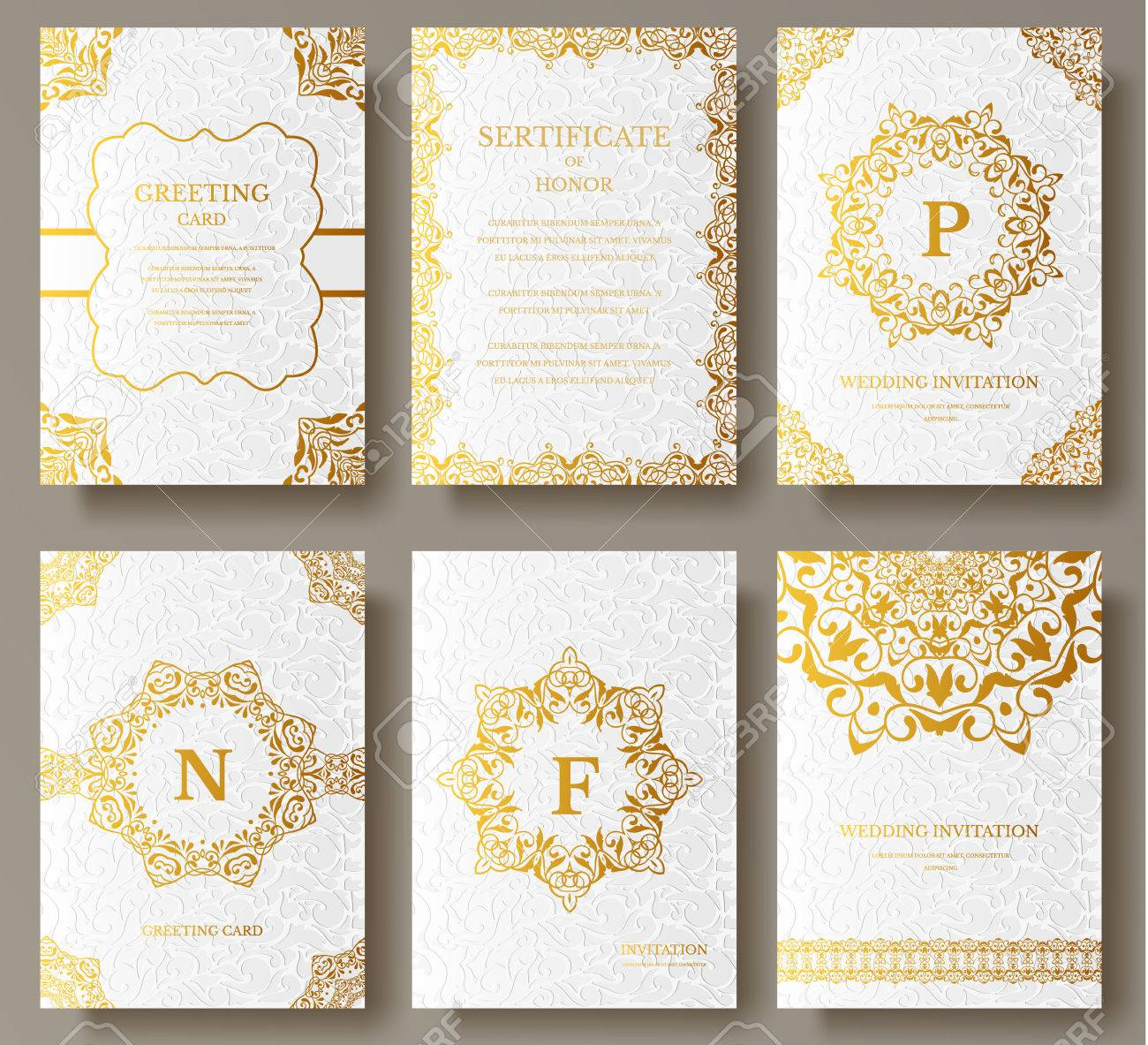 Set of Luxury Gold artistic pages set with logo brochure template. Vintage art identity, floral card, magazine. Traditional, Islam, arabic, indian. Decorative retro greeting card or invitation - 56694926