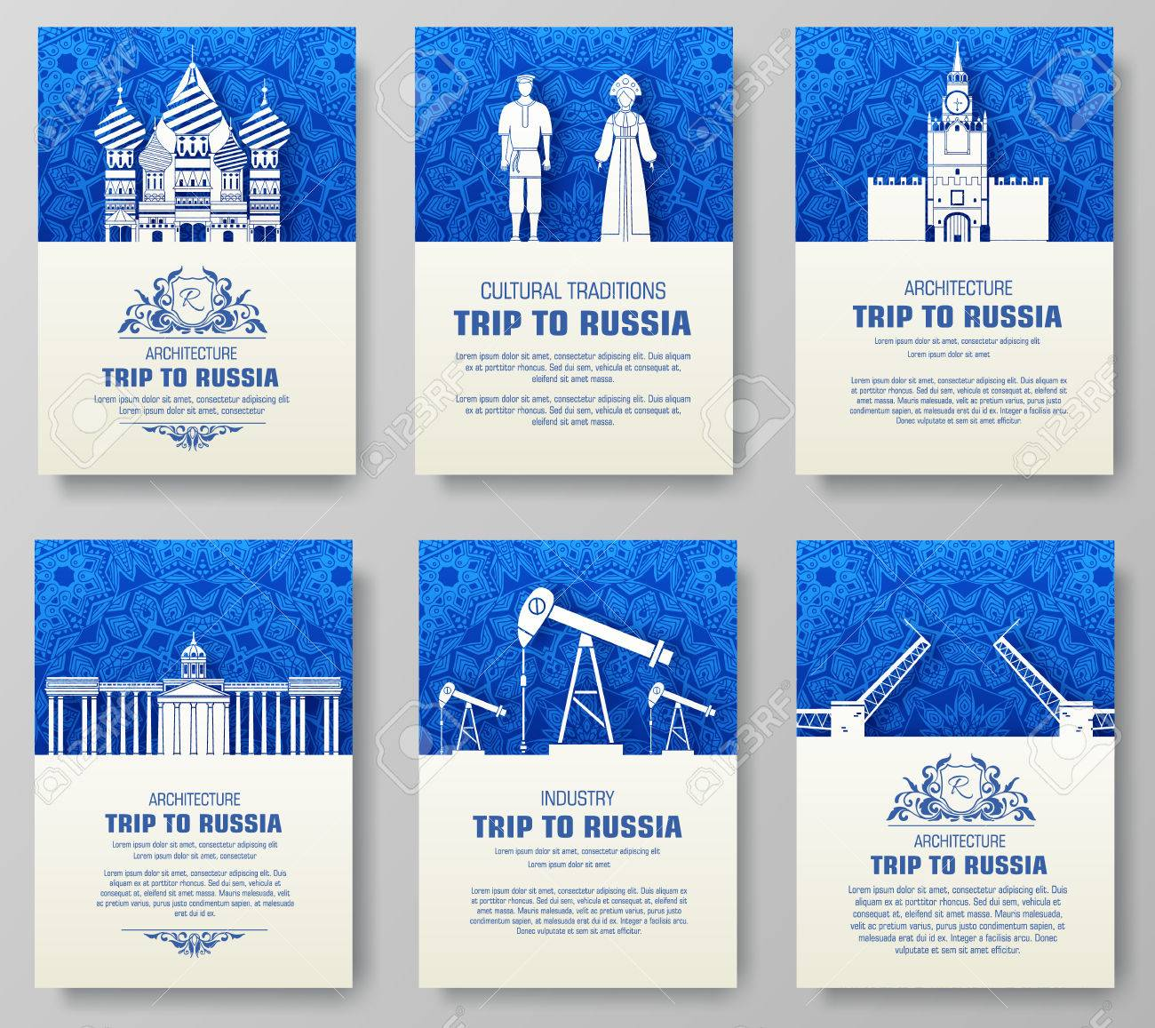 Set Of Russia Country Ornament Illustration Concept. Art ...