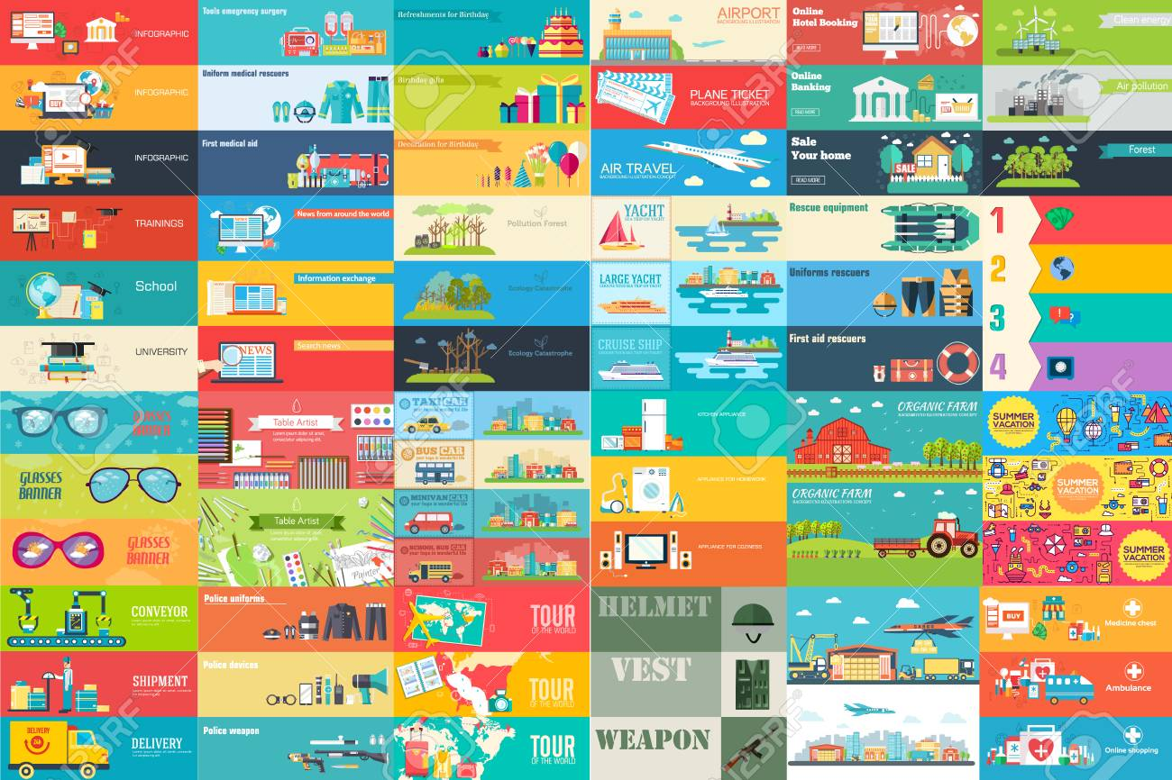 Big collection of banners in flat style. In set themes, business, airport, online workshop, travel, medicine, ecology, news, home appliance, farm, food, glasses, city, army, painter, export vector design. - 97933501