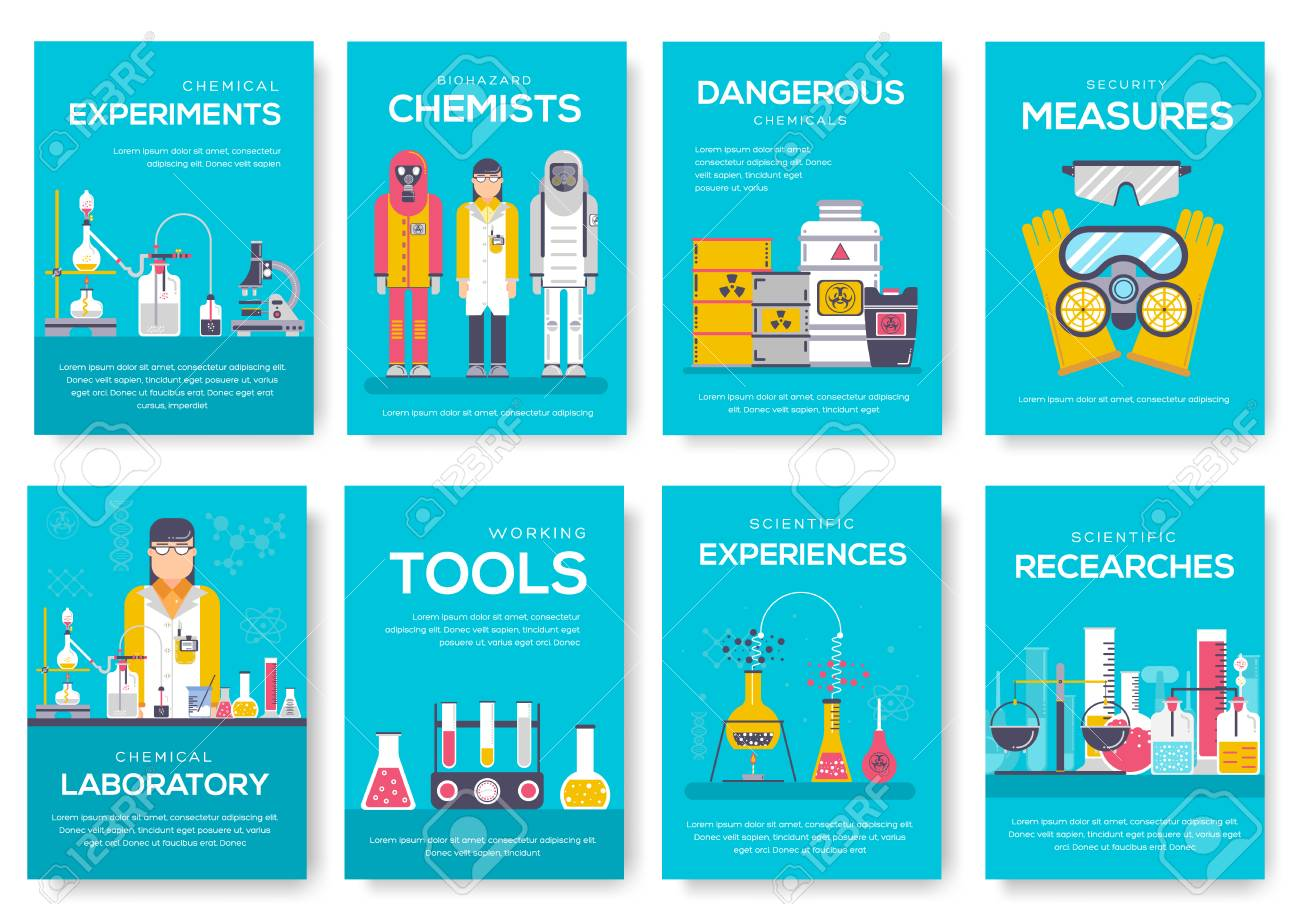 Biohazard Chemists Brochure Cards Set Chemistry Lab Template