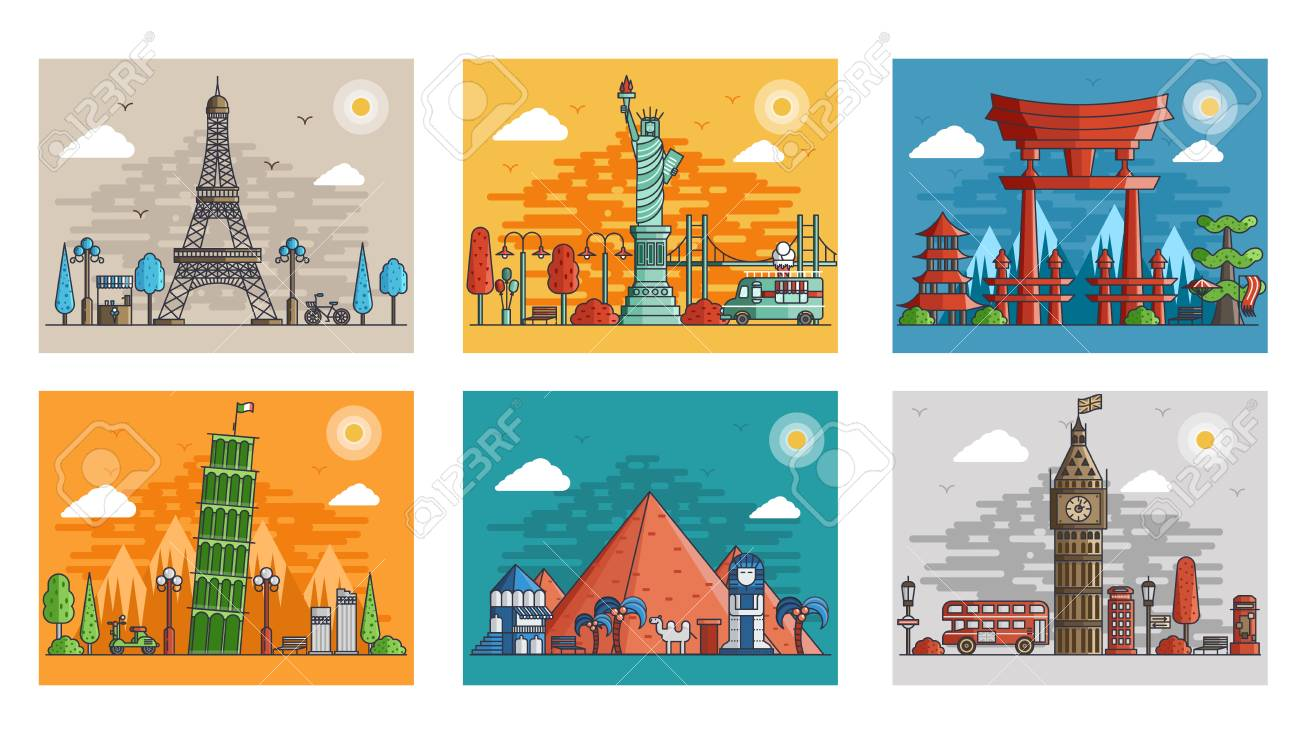 Set of ornamental travel on ethnic floral style design. Architecture art with logo, label. Historical monuments of France, Japan, Egypt, England, Italy, USA - 98629185