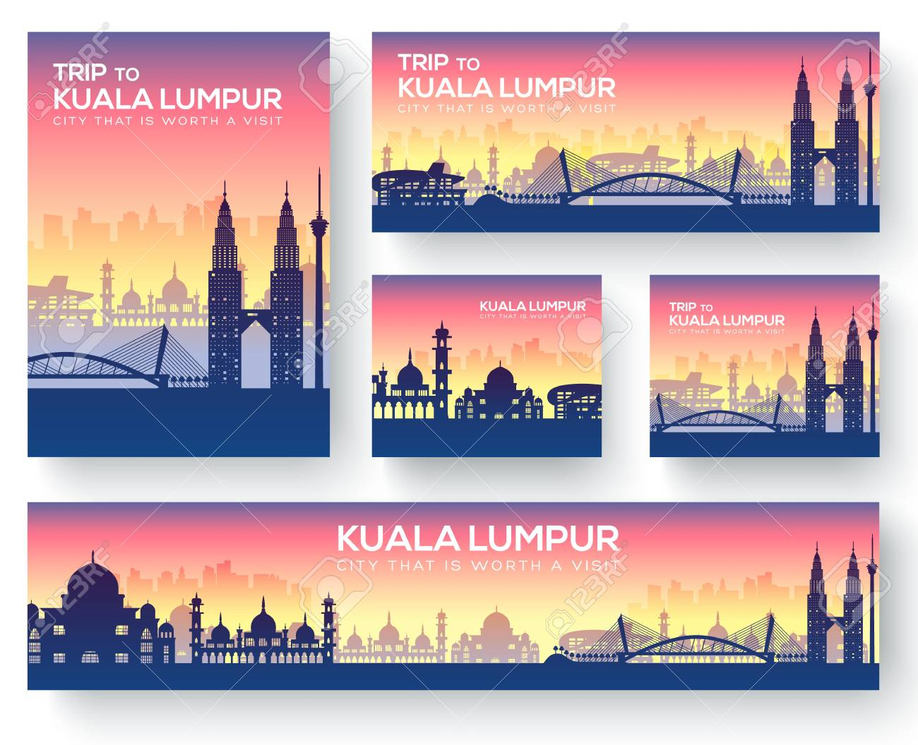 Set of kuala lumpur landscape country ornament travel tour concept. Culture traditional, magazine, book, poster, abstract, element. Vector decorative ethnic greeting card or invitation - 98865676