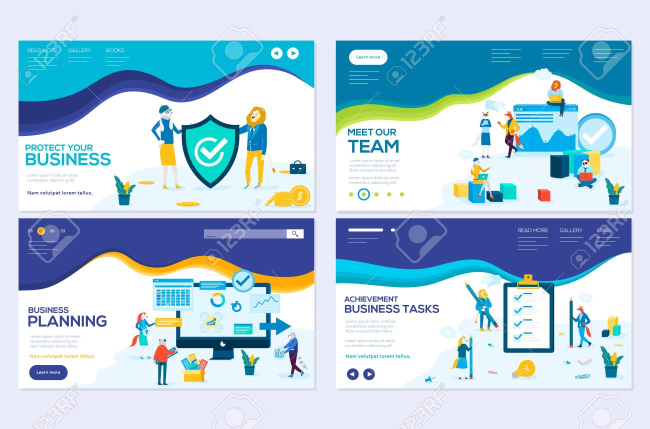 Business school website templates set. Business protection, insurance coaching vector landing page. Time management seminar web banner with copyspace. Teamwork. Cartoon characters with animals heads - 126453945