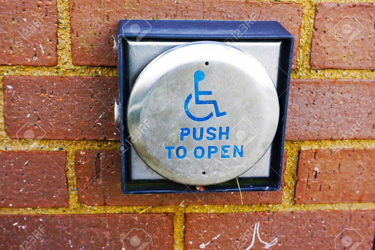 Handicap Push Button Door Opener,in Front Of Mall Stock Photo   49178513