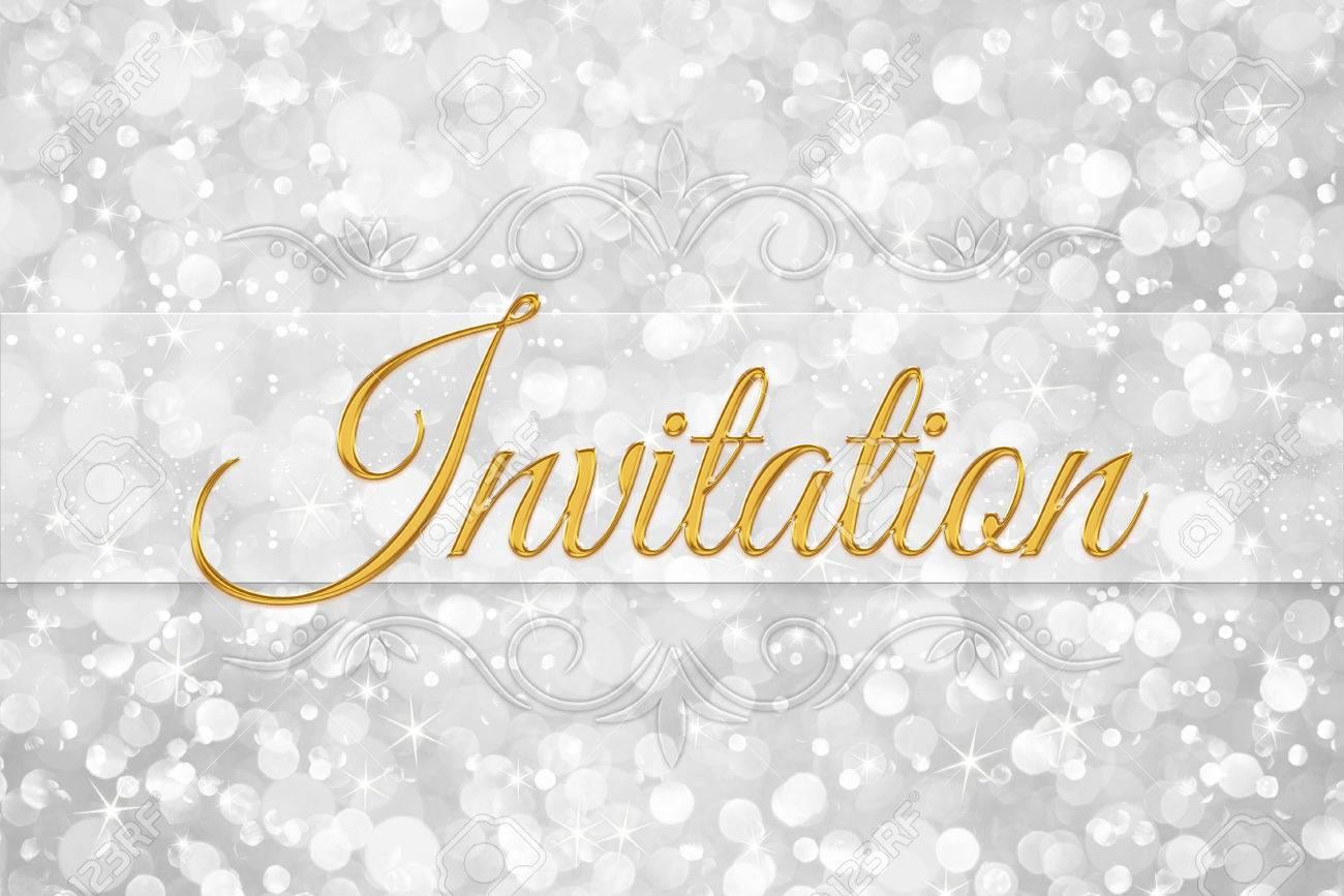 Invitation word on white silver glitter bokeh abstract background invitation word on white silver glitter bokeh abstract background stock photo 60470605 stopboris Choice Image