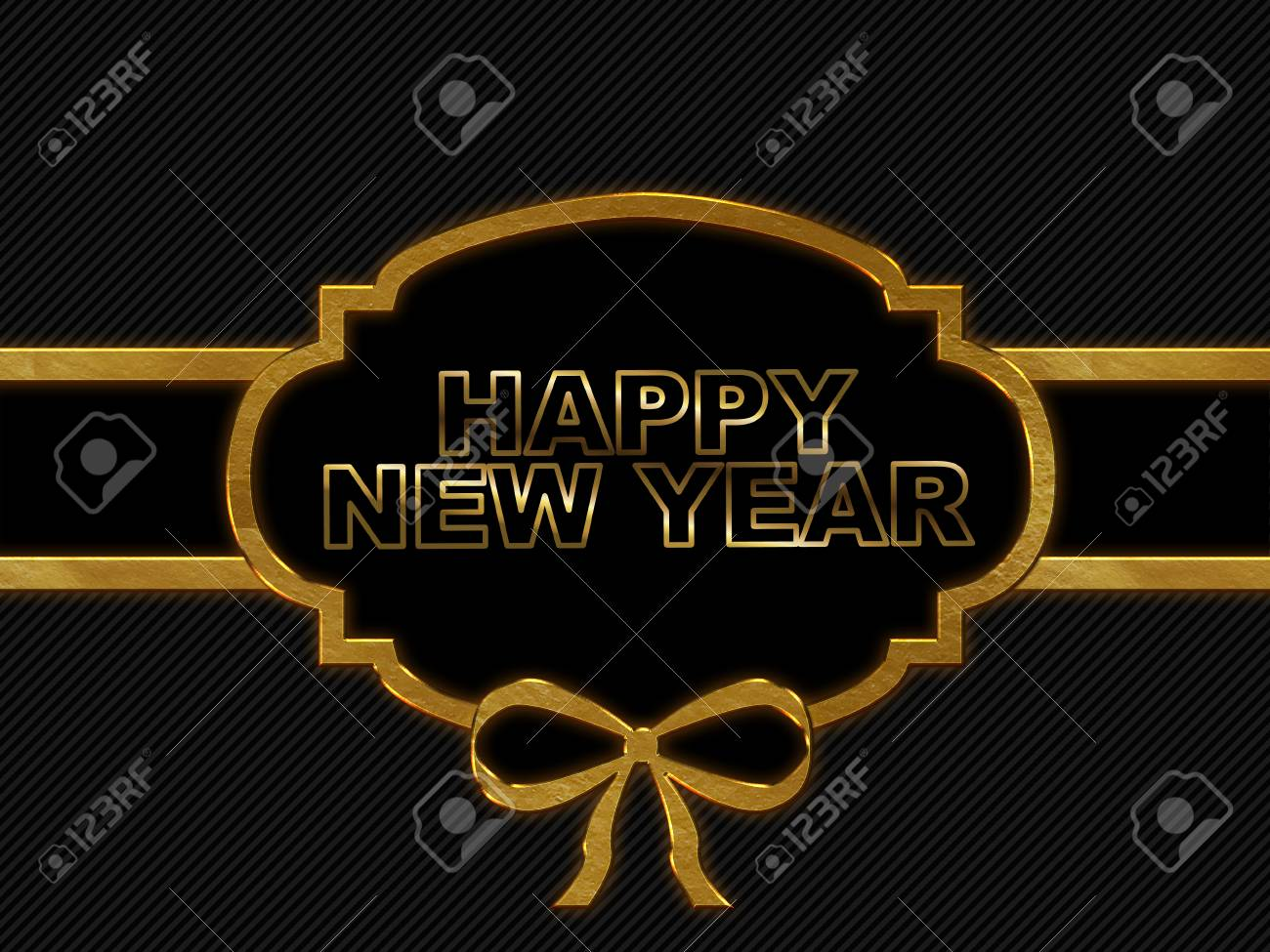 blank tag gold border on stripe background with word happy new year stock photo 60476487