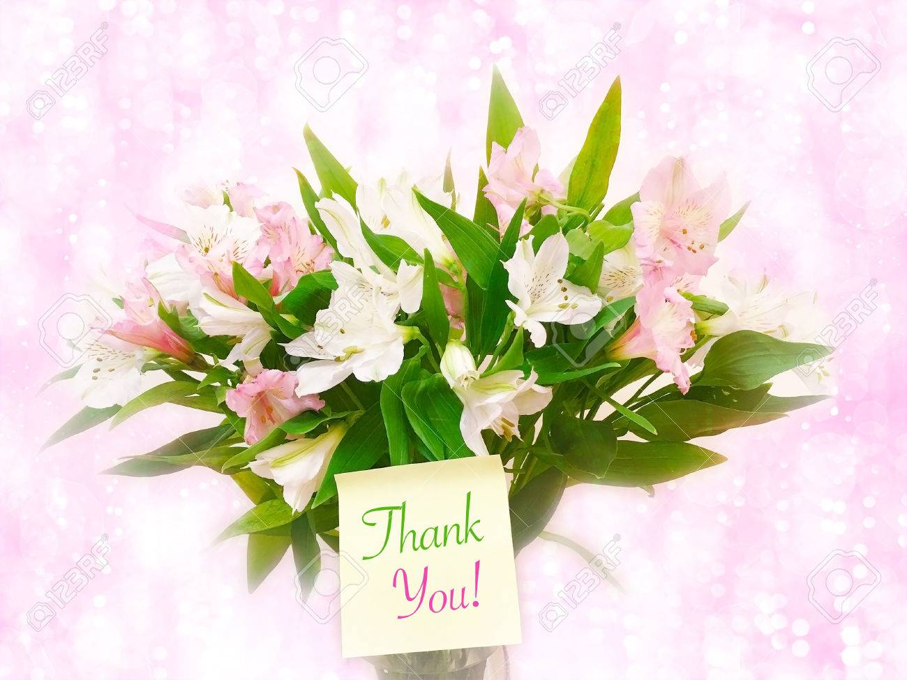 Bouquet Of Pink And White Flowers On Pink Glitter Bokeh Background