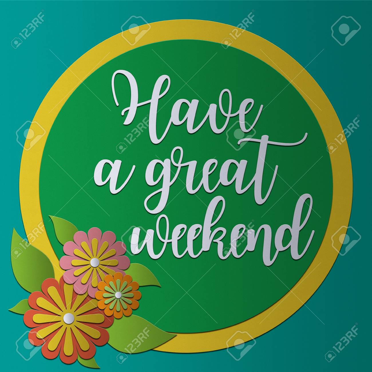 Have A Great Weekend Card Papercraft Vintage Style Stock Photo