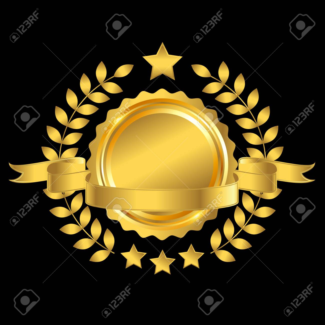 golden badge with ribbon and wreath on blank background, vector.. royalty  free cliparts, vectors, and stock illustration. image 73367379.  123rf